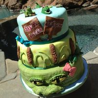 """see Ya Later Alligator"" Cake 3 tiered cake (12', 10"", and 8""), all tiers are vanilla, some with lemon filling, some with strawberry. All tiers are..."