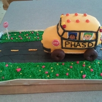 "School Bus Cake This is the second ""specialty"" cake I ever made. It was made for an end of the year/retirement party for school bus drivers. The..."