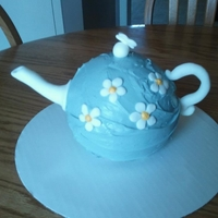 "Teapot Cake This is my very first ""specialty"" cake, made this year for my mother on Mother's Day. The cake is pink champagne with..."