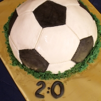 Soccer Cake   Soccer cake with home-made marshmallow fondant.