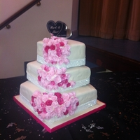 My Wedding Cake 6/8/10 inch square cakesIvory FondantWhite Diamante Trim/RibbonMulti Pink Cascaded Roses