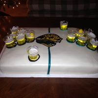 Jacksonville Jaguars Beer Pong Birthday cake made for my brother who loves the Jaguars and to play beer pong. Cake is a vanilla sponge with buttercream icing and rum...
