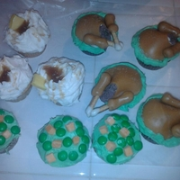 "Turkey Day Feast,,,,,happy Thanksgiving! cupcakes ""peas and carrots"".. mashed potatoes and gravy with butter"" .. ""stuffed turkey"""