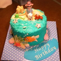 Beach Themed 'surprise Inside' Birthday Cake Butter cake with butter cream filling and frosting, fondant decorations.