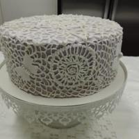Vintage Lace Wedding Cake Royal icing practice piece. Hard work, think I would do it in buttercream in future.