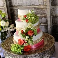 Coral Wedding Raffia Cake Coral Wedding Raffia Cake
