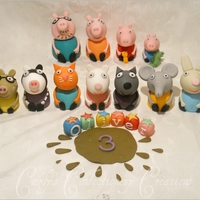 Edible Handcrafted Peppa Pig + Family + Friends Cake Toppers