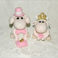 Edible Handcrafted Bride & Groom Sheep Wedding toppers