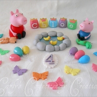 Edible Handcrafted Peppa Pig + George Cake Toppers