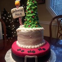 "Cake For My Santa Themed Dining Tablefondant Bottom Tier Buttercream Top Tier Fondant Tree And Accents 9 And 6 Cake for my santa themed dining table..fondant bottom tier, buttercream top tier, fondant Tree and accents. 9"" and 6"""
