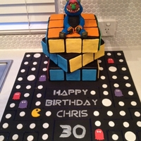 Rubiks Cube Rubiks cube cake with My Pet Monster on a Pac Man base