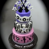 Rock & Roll This Rock & Roll birthday cake was made for a 9 year old girl. Dancing figures, guitars, records and zebra stripes were hand cut out of...