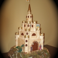 Castle Wedding Cake Castle is covered in marshmellow fondant using a brick and stone impression mat. Everything was made by hand except princess, prince, and...