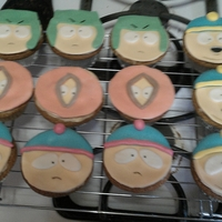 South Park Cupcakes Cupcakes I made for my daughter's boyfriend's birthday. White cake, spiced buttercreme frosting, MMF decorations.
