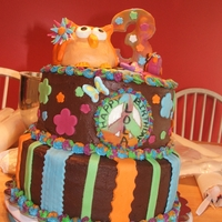 Hippie Chick Birthday Cake I made this cake for a little girls birthday. I had alot of fun making the owl. This was my first time sculpting.