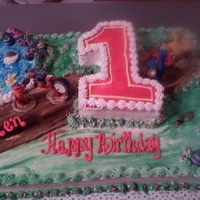 1St Birthday With Elmo And Big Bird half sheet 3d cake