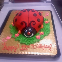 "Ladybug Ladybug Fly Away Home 8""double with 3 cupcakes. Fondant icing."