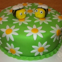 Fondant Bees & Daisy's Final cake for Wilton class 3. Had a lot of fun with this one.