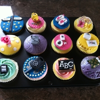 Custom Birthday Cupcakes Birthday cupcakes. Includes money, running shoes, 50 Shades of Grey, cigarettes, a weighing scales and Slimming World sign, an iPhone, a...