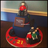 21St Birthday Cake With The Birthday Boy Siting On The Iron Throne From Game Of Thrones He Is A Teacher Who Loves Rowing And Marvel Comics... 21st Birthday Cake with the birthday boy siting on the iron throne from Game of Thrones. He is a teacher who loves rowing and Marvel comics...