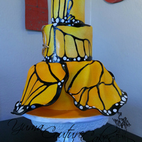 "Monarch Butterfly Cake Horrible phone pic, so mad at myself for not making sure the batteries in my camera were charged before it left today. :( Gumpaste ""..."