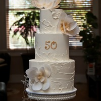 Anniversary Cake SMBC, wafer paper flowers