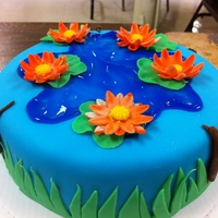 Lily Pad Pond Cake Lily Pad Fondant Cake. This was my first time working with fondant. :) It was so much fun!
