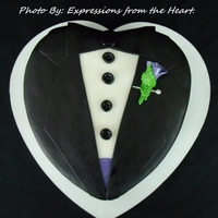 Tux fondant covered tux, hand made rose pin