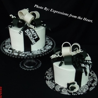 Black And White With Bow Gumpaste bow, and fondant ribbion, and tag,