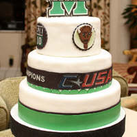 Marshall University Football At The Boca Bowl, Big Green Scholarship Foundation's Party At The Boca Resort. Vanilla Butter cake with vanilla buttercream, edible topper and decorations.