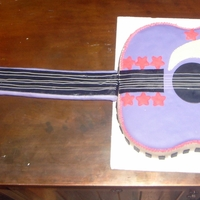 Bieber Guitar   guitar cake, rcc neck, all covered in mmf, edible image of justin bieber