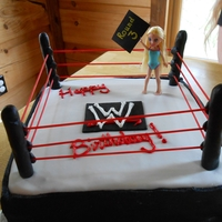Wrestling   square cake covered in mmf, poles are sticks covered in mmf and ropes are spaghetti noodles painted red.