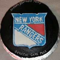 Ny Rangers Birthday Cake ColorFlow Logo, Black Butter Cream white cake in 3 layers with Choc chip Cannoli cream filling
