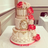 Ivory, Coral And Gold Wedding Cake wedding cake with peonies and roses