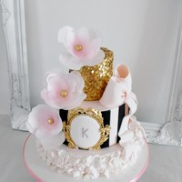 For My Beautiful Daughter Pink, black and gold tiered birthday cake for my daughters 15th birthday.