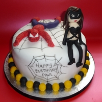 Spiderman & Catwoman Cake
