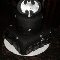 Batman Vanilla cake with strawberry banana and bavarian cream