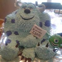 Sully And Mike My grandsons birthday cake. All buttercream except horns, nose, eyes, mouth and claws. Those are fondant.