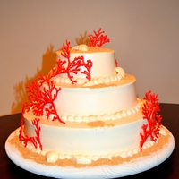"Beach Theme Wedding Cake Beach theme cake, graham cracker sand, candy shells, royal icing ""red coral""."