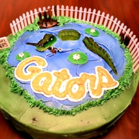 Florida Gator Cake Fondant Florida Gator with a bulldog tag in mouth in a pond.
