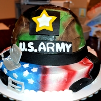 Army Helmet Cake   Butter cream cakes, air brushed camo and flag, fondant, logo, dog tags and belt.