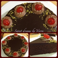 Chocolate Ganache Cake   Chocolate Cake with ganache frosting and Pistachio and Cherries