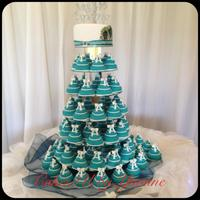 Teal Peacock Wedding Cake *