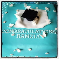Graduation Cake  Graduation cake made with 3 layers of fluffy vanilla cake, custard filling with fresh strawberries. That Tiffany blue is by far one of my...
