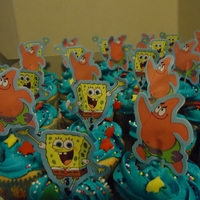 Spongebob Cupcakes Yellow cake cupcakes with vanilla BC