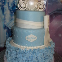 "Cinderella Cake For My Daughters 3Rd Birthday Used A 8 10 Amp 12 Round Cake Pan Gumpaste Carriage Airbrushed In Pearl Ruffle Bott Cinderella Cake for my daughter's 3rd birthday. Used a 8"", 10"", & 12"" Round Cake Pan. Gumpaste Carriage airbrushed..."