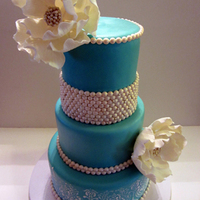 Engagement Cake Tiffany Blue With Bling Flowers