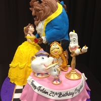 "Belle And The Beast 20 Tall 3 Different Flavors With Fondant Figures   belle and the beast 20"" tall 3 different flavors with fondant figures"