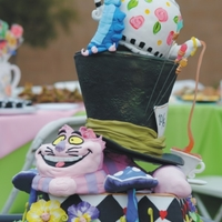"Alice In Wonderland Cake mad hatter and cheshire cat tea party, 22"" tall, cake with cereal mushrooms and sugar hat pins and tea"