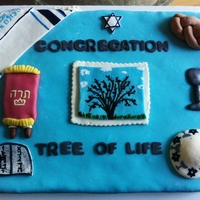 Another Jewish Cake. My Best Friend and I made this one to represent the synagoge, and It also was made to tie together all my other Jewish cake themes. ;)